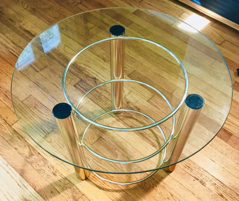 Vintage Coffee End Table 80s Gold Forged Brass MCM 3-D Design Hollywood Regency