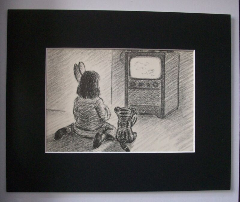 Print Clare Newberry Girl Stuffed Animals Watch Vintage TV Bookplate 1961 Matted