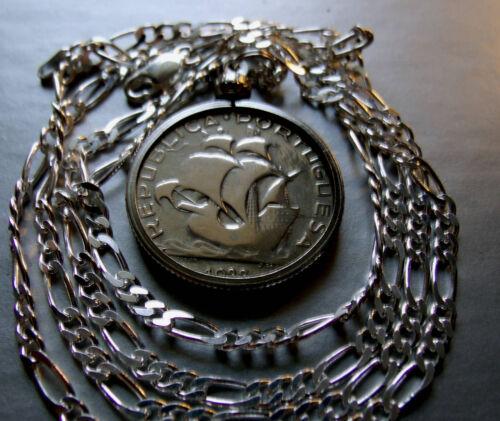 """1933 Portugal Silver Cinco Escudo Ship Coin on 28"""" Italian Sterling Silver Chain"""