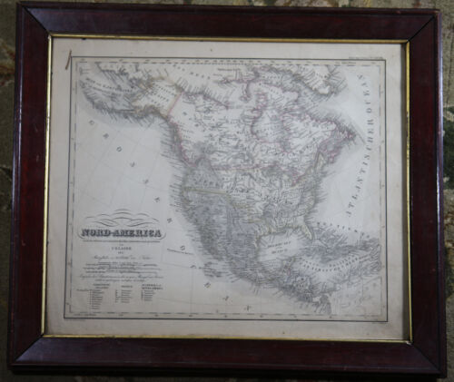 NORTH (NORD) AMERICA - RARE VINTAGE ORIGINAL 1837 CARL GLASER LITHOGRAPH MAP