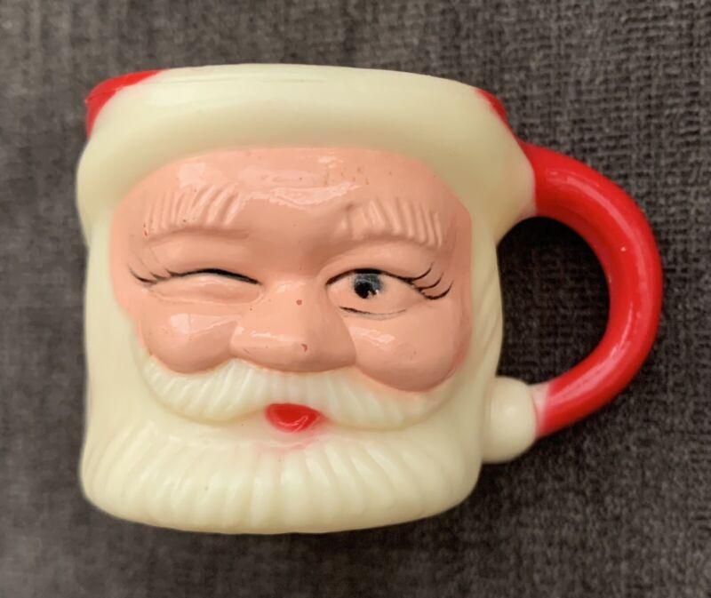 """Vintage Winking Santa Claus Mini Celluloid Mug Cup Hong Kong 1.5"""" H"""
