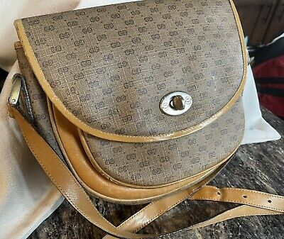 Authentic Vintage GUCCI Tan Leather Crossbody Bag Purse