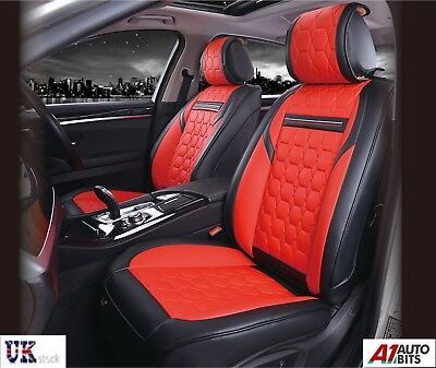 Deluxe Quality Red Black PU Leather 1+1 Front Seat Covers Padded For