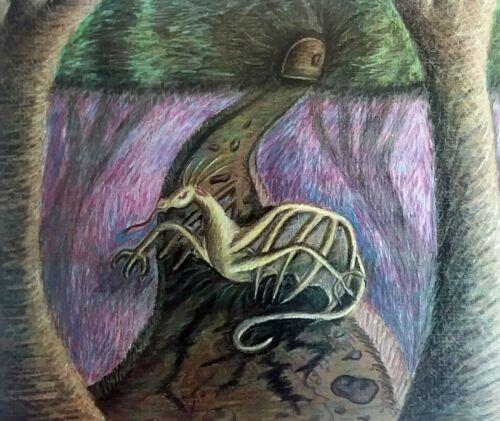 """DRAGON 8x10 Fantasy Art Print Collectible Artist KSams """"Guarding the Entrance"""""""