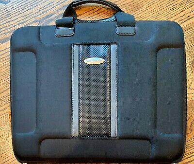 Black Samsonite 1910 Slim Hardshell Padded 15 Inch Laptop Shuttle Luggage EUC