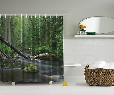 Lush Green Forest River Stream Nature Fabric Shower Curtain Digital Art Bathroom