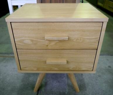 New Scandi Danish Retro Bedroom Timber 2 Drawer Bedside Tables