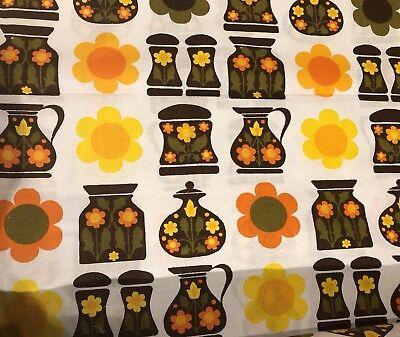 Vintage Retro 60's/70's Orange/brown/yellow   Fabric - Kitchen Floral Unused,
