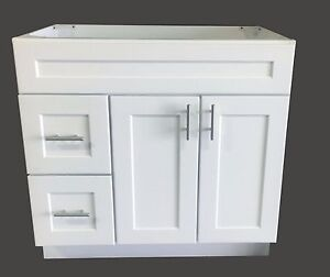 New White Shaker Single Sink Bathroom Vanity Base Cabinet 36