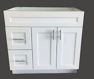 New White Shaker Single-sink Bathroom Vanity Base Cabinet 36  Wide x 21  Deep & Bathroom Base Cabinet: Vanities | eBay