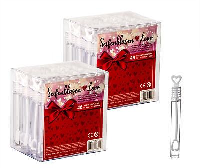 96x Seifenblasen Herz Gastgeschenk für Hochzeit Deko Wedding Bubbles Party Set