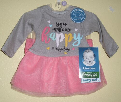 Gerber Organic Cotton 2 Pc Tutu Dress & Diaper Cover Happy New NWT Size 3-6 M