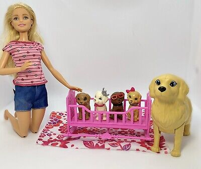 Barbie Puppy Cradle And Dog Pets Playset With Puppy Dogs Lot And Barbie Doll