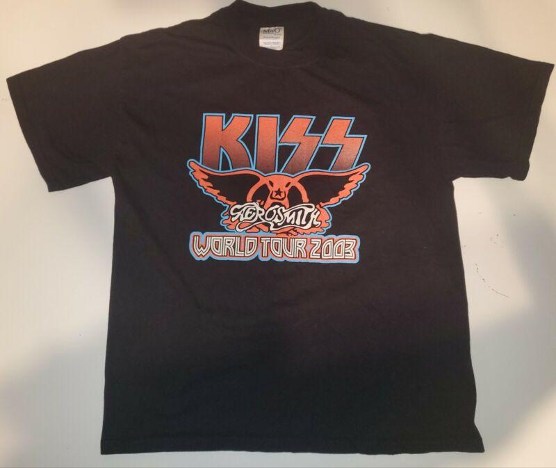 Kiss and Aerosmith World Tour 2003 Black Large Tshirt