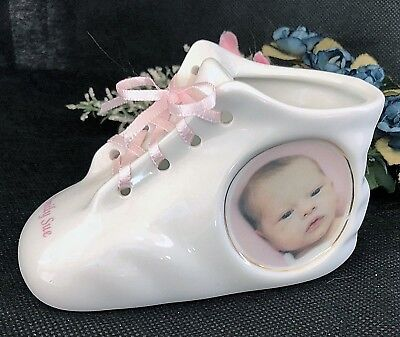 Personalized Photo Ceramic Baby Shoe Bootie Keepsake Newborn Baptism