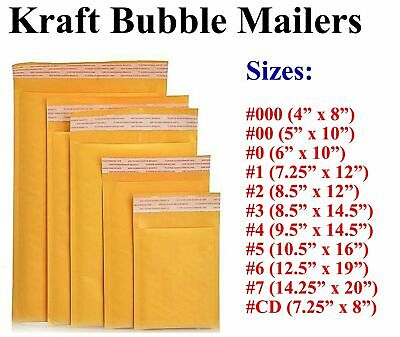 5-3000 Kraft Bubble Mailers Padded Envelope 000 00 0 Cd 1 2 3 4 5 6 7