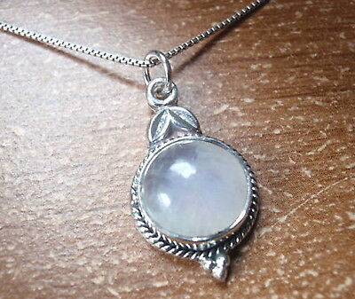 - Round Moonstone 925 Sterling Silver Pendant with Floral Accents f78e