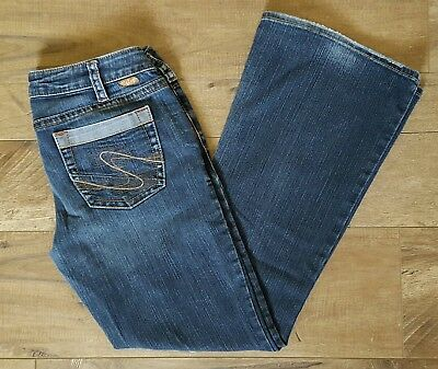 Silver Aiko Jeans Bootcut 31 Dark Wash Two Tone Back Pockets Distressed