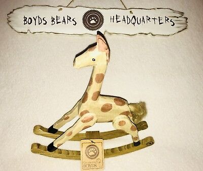 The BOYDS BEARS Baby Boyd's WOODEN GIRAFFE Rocking Horse Nightstand Accessory