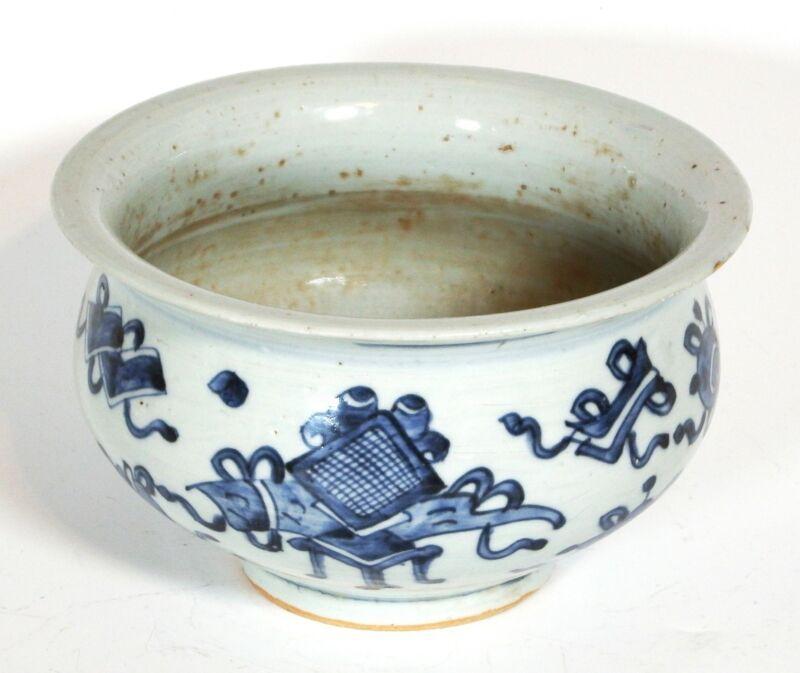 Antique Chinese Blue & White Porcelain Censer Hundred Antiques Pattern