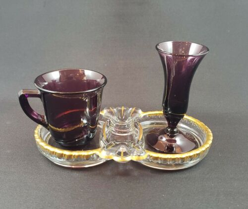 Cambridge Glass Demitasse - Cordial Set Amethyst with Gadroon Tray 1930s RARE