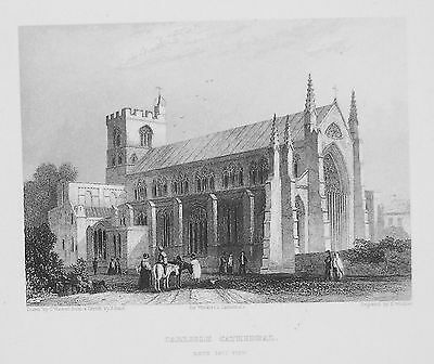 OLD ANTIQUE PRINT CARLISLE CATHEDRAL CUMBRIA c1860's ENGRAVING by WINKLES