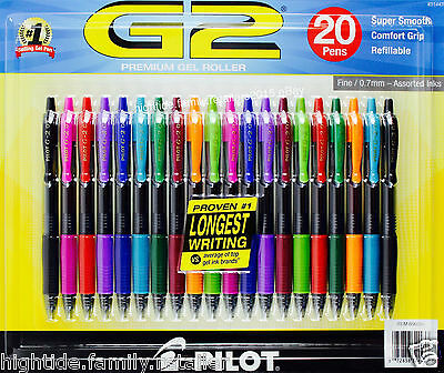 Pilot G2 Premium Gel Roller Super Smooth Fine 0.7mm Assorted Ink Colors 20 Pens