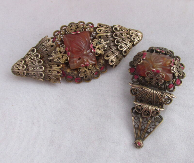 Old Czechoslovakia Filigree Lace Brass&Carved Floral Glass Stone Pin&Clip Set