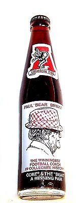 Coca Cola Alabama Crimson Tide Bear Bryant Soda Bottle Tickets Ex NCAA BCS Ofr - $28.00