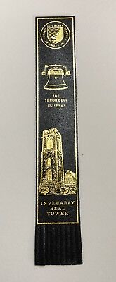 Vintage INVERARY BELL TOWER Leather Bookmark Souvenir - Scottish Scotland