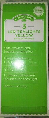 HOLIDAY TIME - 3 LED  YELLOW TEALIGHTS - BATTERY OPERATED - WEDDINGS/HOLIDAYS](Battery Operated Tea Lights Bulk)