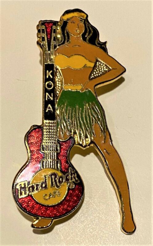 HRC pin #4066 KONA HAWAII Red LES PAUL GUITAR & HULA GIRL Pin-style closure 1998