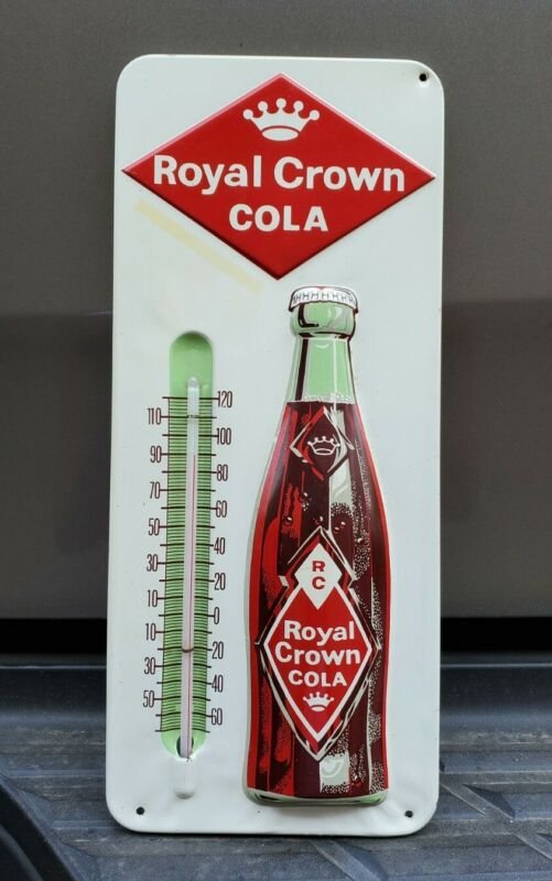 Vintage RC Royal Crown Cola Embossed Metal Thermometer Excellent Condition