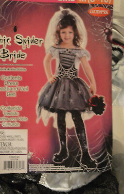 Girls Gothic Halloween Costumes (Girl's Halloween Gothic Spider Bride 3 Pc Costume Outfit Size Medium)