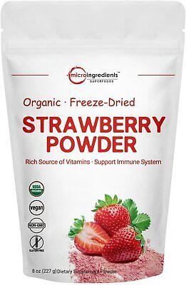 Organic Strawberry Freeze Dried Powder 8 Ounce Multivitamins Antioxidants Smooth