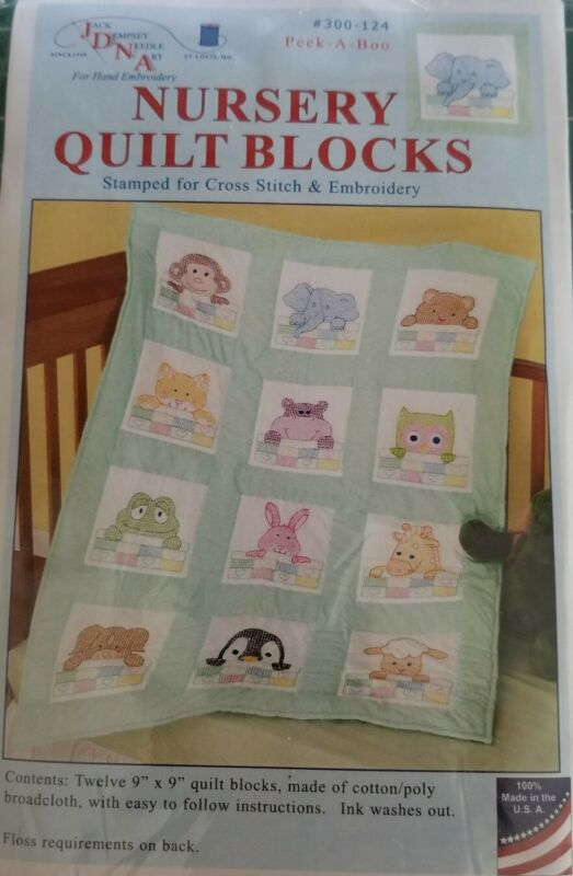 """New 12-9"""" X 9"""" Stamped Embroidery Cloth Peek a Boo Nursery Quilt Blocks Baby"""