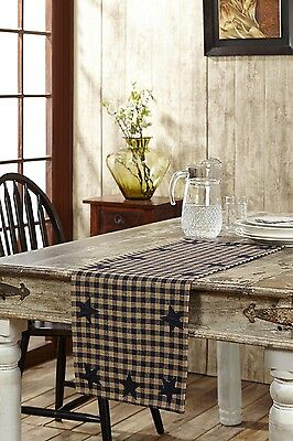 NAVY STAR Runner Woven Plaid Rustic Primitive Khaki Check Applique Country 13x36 (Navy Table Runner)