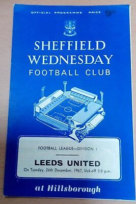 Sheffield Wed v Leeds United First Division Football Programme December 26th1967