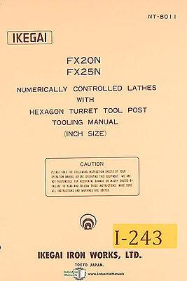 Ikegai Fx20n Fx25n Nc Lathes Tooling Manual