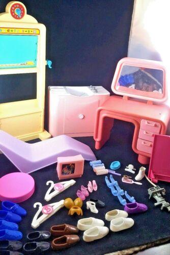 Vintage Barbie Ken Shoes Accessories Desk Furniture Lot House Parts 1980s