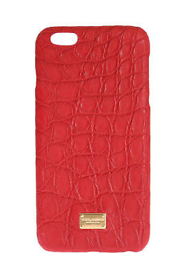 NEW $700 DOLCE & GABBANA Phone Case Red Skin Leather Gold Logo iPhone6 Plus