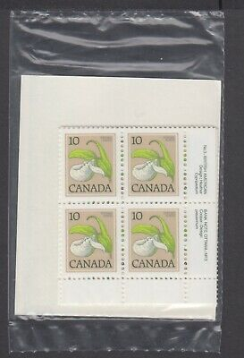 CANADA SEALED PLATE BLOCKS 786 PL 3 BABN FLORAL DEFINITIVES - LADY'S LIPPER