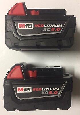 (2) NEW MILWAUKEE 48-11-1850 M18 18V 18 Volt RED Li-Ion XC 5.0 Ah Battery packs