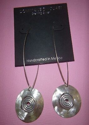 DINOUART EARRINGS Long Kidney Wire Brushed Discs STERLING stamped .925 Mexico  Disc Kidney Wire Earrings