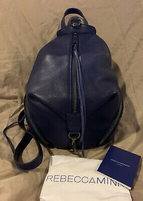 REBECCA MINKOFF Julian Medium Pebbled Leather Backpack Bag Navy Blue NWT Purse