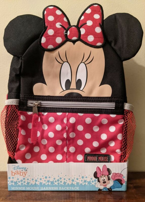 DISNEY Baby Minnie Mouse Harness Backpack with Adjustable Straps and Zip Closure