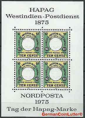 Faksimile Hapag-Marke Westindien-Postdienst z. Nordposta1975 postfrisch (#35661)