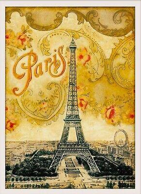 "Paris Eiffel Tower French 13x19"" European Vintage Travel Advertisement Poster"