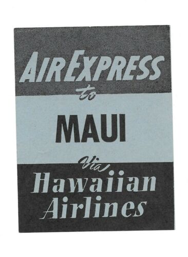 Vintage Airline Luggage Label HAWAIIAN AIRLINES Air Express MAUI blue black