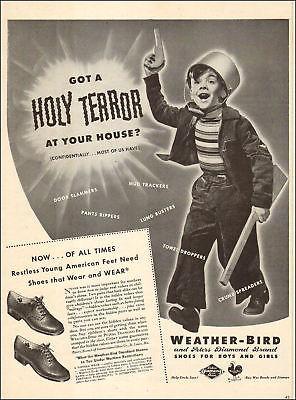 1943 WW 2 era Ad Weather Bird Kid's Shoes ,photo Little boy goes to War  051918